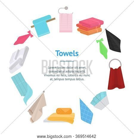 Cartoon Color Hand And Bath Fabric Towels Banner Card Circle For Bathroom And Spa Flat Design. Vecto