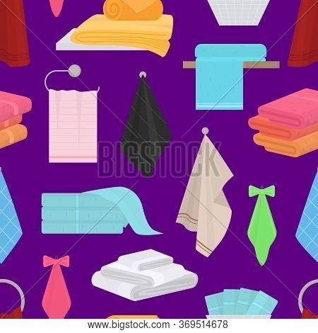 Cartoon Color Hand And Bath Fabric Towels Seamless Pattern Background For Bathroom And Spa Flat Desi
