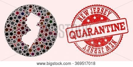Vector Map Of New Jersey State Collage Of Flu Virus And Red Grunge Quarantine Seal. Infection Cells