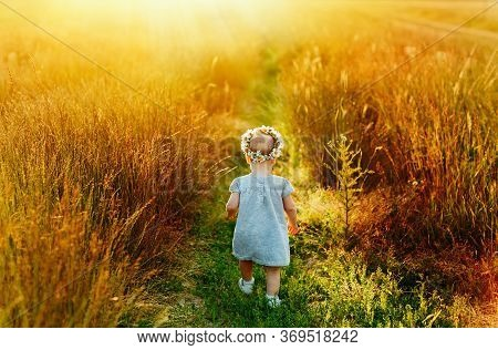A Little Girl In A Light Blue Dress And A Wreath Of Daisies On Her Head Walks Away Along A Green Pat