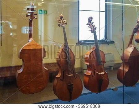 Milan, Italy, 29 September, 2015 : Medieval Stringed Musical Instruments - Contrabass - Exhibit At T