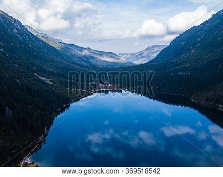 Famous Polish Landscape - Spectacular Aerial View To Mountain Lake Morskie Oko, Tatra Mountains, Pol