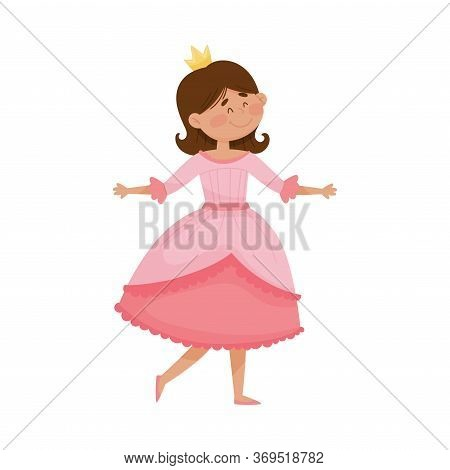 Little Princess With Black Hair Wearing Crown And Dressy Look Garment Vector Illustration