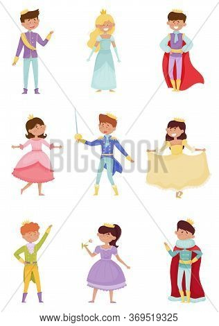 Funny Little Princes And Princesses Wearing Crown And Dressy Look Garments Vector Illustrations Set