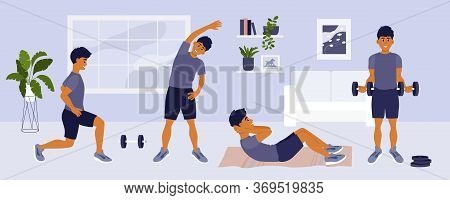 Stay Home Keep Fit. Man Doing Different Sport Exercises, Lunges, Side Bends, Abdominal Crunches, Wor