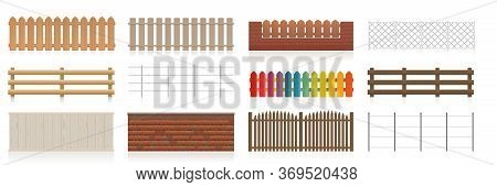 Fences Set. Different Fences Like Wooden, Garden, Electric, Picket, Pasture, Wire Fence, Wall, Barbw