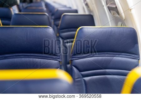 Empty Airplane. Passengers Free Airplane, Cancelled Flight. Cancelled Flight, No Travel, Stop Or Sta