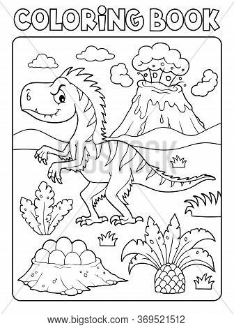 Coloring Book Dinosaur Composition Image 4 - Eps10 Vector Picture Illustration.