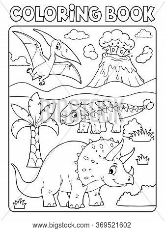 Coloring Book Dinosaur Subject Image 6 - Eps10 Vector Picture Illustration.