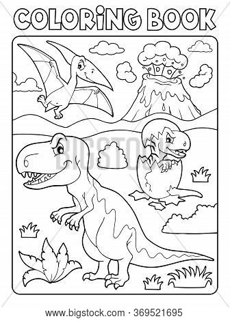 Coloring Book Dinosaur Subject Image 9 - Eps10 Vector Picture Illustration.
