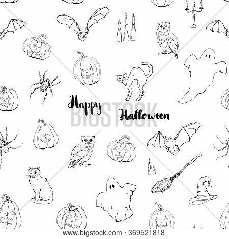 Hand Drawn Graphic Halloween Seamless Pattern With Ghost Bat Black Cat Owl Spider Witch Hat Broom Be
