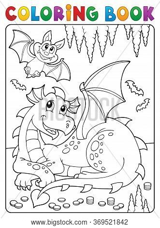 Coloring Book Lying Dragon Theme 3 - Eps10 Vector Picture Illustration.