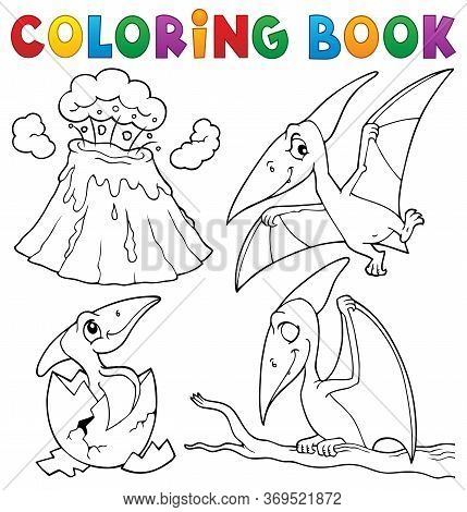 Coloring Book Pterodactyls Theme Set 1 - Eps10 Vector Picture Illustration.