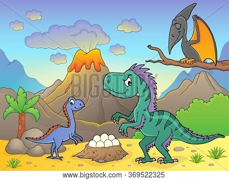 Dinosaurs Near Volcano Image 2 - Eps10 Vector Picture Illustration.