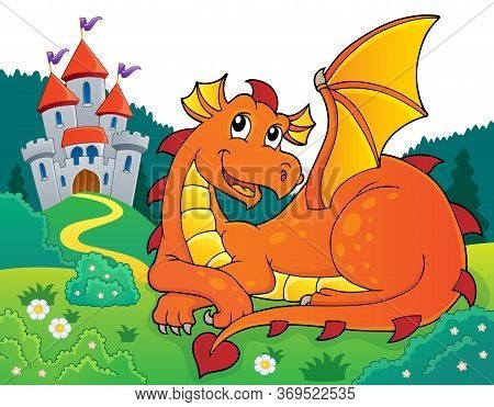 Lying Dragon Theme Image 3 - Eps10 Vector Picture Illustration.