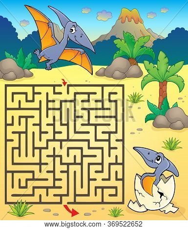 Maze 3 With Pterodactyls - Eps10 Vector Picture Illustration.