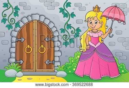 Princess With Umbrella By Old Door - Eps10 Vector Picture Illustration.