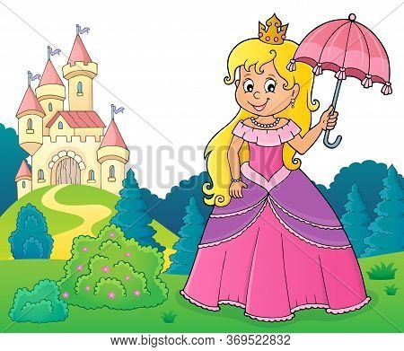 Princess With Umbrella Theme Image 3 - Eps10 Vector Picture Illustration.