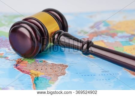 Bangkok, Thailand - January 10, 2020 Gavel For Judge Lawyer On Wold Globe Map. Law And Justice Court