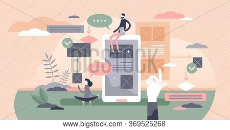 User Experience Vector Illustration. Customer Satisfaction And Feedback Analysis Process Flat Tiny P