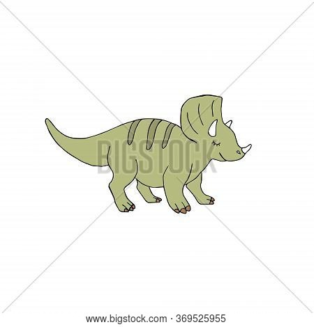 Vector Hand Drawn Doodle Sketch Green Triceratops Dinosaur Isolated On White Background