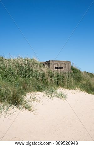 A Fortified British Army Pillbox On The East Coat Of The Uk At Fraisthorpe Beach Near Bridlington, Y
