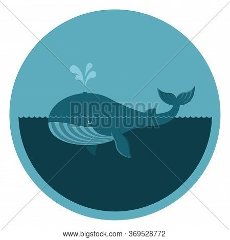 Round Emblem With A Whale, A Blue Whale In A Turquoise Circle With Place For Your Text, A Floating W