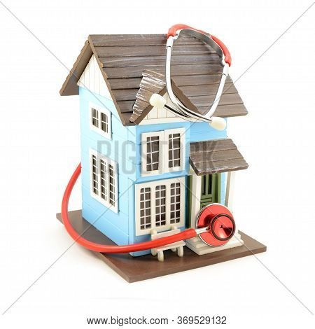 An Isolated Image Of A House With A Stethoscope Doing A Checkup For Various Concepts.
