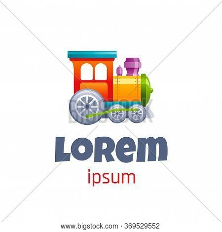 Vector Illustration Of Cute Baby Toy Logo Isolated On White Background. 3d Wood Train. Template For