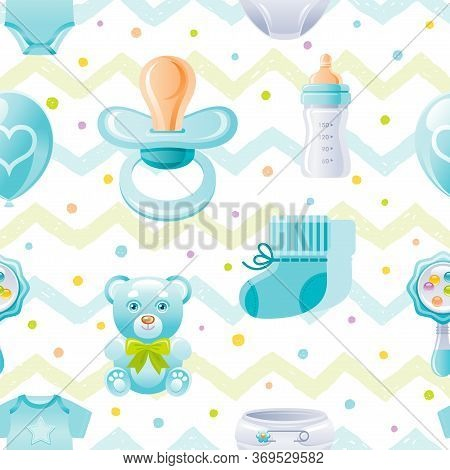 Boy Baby Shower Seamless Pattern. Cute Cartoon Wallpaper Background Whith Kid Icons - Pacifier, Bear