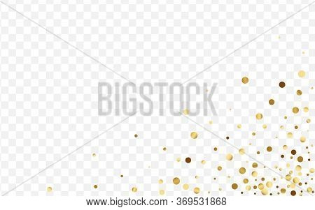 Golden Round Polka Pattern. Isolated Confetti Background. Yellow Dot Bright Card. Elegant Circle Ill