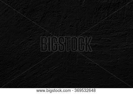 Black Rough Stucco. Texture Of Wall Of House. Abstract Black Background.