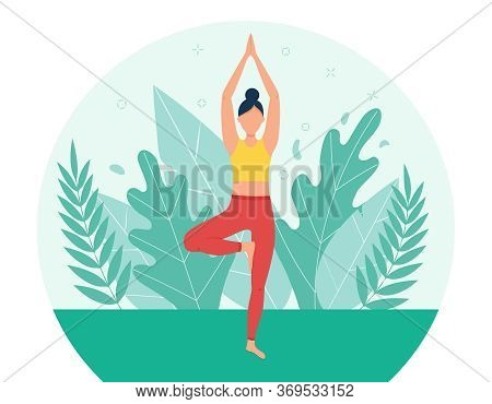 A Girl Practices Yoga In The Park. The Concept Of Outdoor Yoga.yoga Classes In Nature. Flat Style. G
