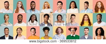 People Faces. Set Of Multiracial Young Men And Women Portraits Over Blue And Pink Colored Studio Bac