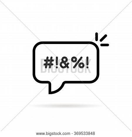 Black Thin Line Swear Bubble Icon. Flat Stroke Trendy Modern Lineart Logotype Art Graphic Design Iso