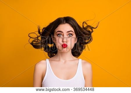 Closeup Photo Of Funny Crazy Childish Lady Hairstyle Flight Mouth Lips Closed Hold Breath Not Breath