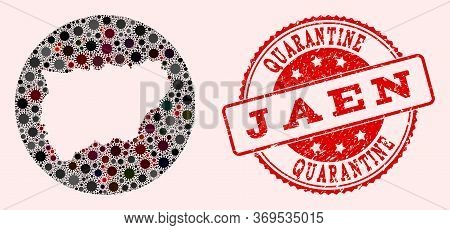 Vector Map Of Jaen Spanish Province Mosaic Of Flu Virus And Red Grunge Quarantine Seal Stamp. Infect
