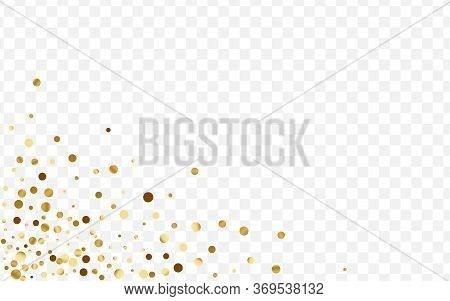 Golden Shine Circle Background. Round Dot Card. Gradient Confetti Paper Illustration. Celebration Gl