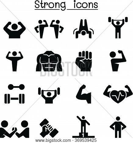 Fitness & Strong Icon Set Vector Illustration Graphic Design
