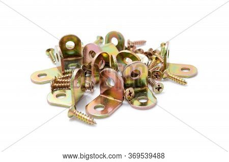 Metallic Tools, Mounting Angle Metal Brackets Isolated On White Background.