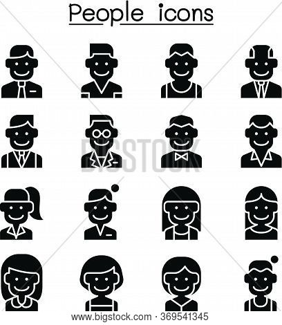 Career, Profession, Occupation & People Icon Set In Thin Line Style