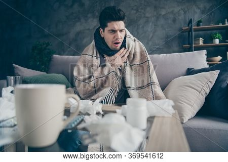 Portrait Of His He Sick Weak Guy Suffering Disease Virus Catch Cold Rhinitis Sitting On Divan Medica