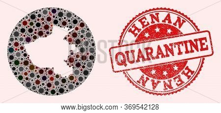 Vector Map Of Henan Province Collage Of Flu Virus And Red Grunge Quarantine Stamp. Infection Cells A