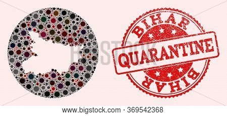 Vector Map Of Bihar State Collage Of Flu Virus And Red Grunge Quarantine Stamp. Infection Cells Atta