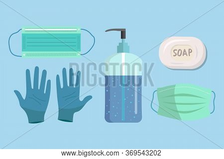 Set Of Disposable Protection Stuff Against Coronavirus, Gloves, Medical Mask, Hand Sanitizer Gel, So