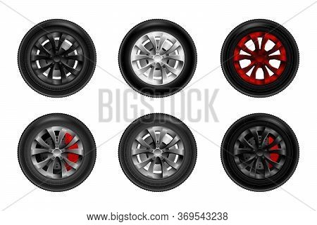 A Collection Of Wheels For A Car With Brake Discs. Ar Wheel Tyre Set Isolated Vector Illustration