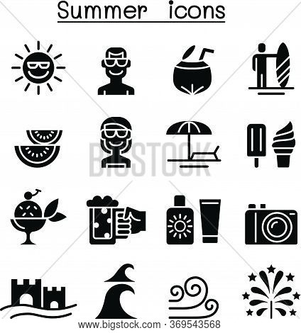 Summer Icons Set Vector Illustration Graphic Design