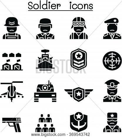 Soldier & Military Icon Set Vector Illustration Graphic Design