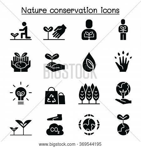Eco Friendly, Nature Conservation, Environmentalist Icon Set