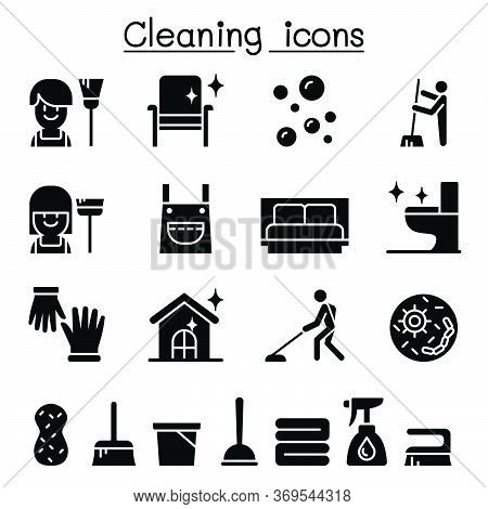 Cleaning House & Hygiene Icon Set Vector Illustration Graphic Design